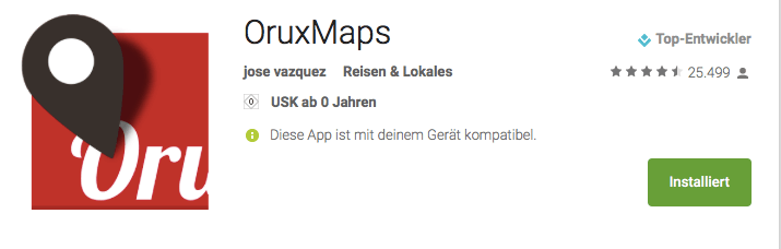 Navigations App Oruxmap für Android